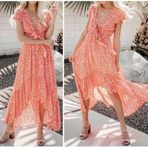 Olivaceous High Low Pocketed Tie Maxi Dress
